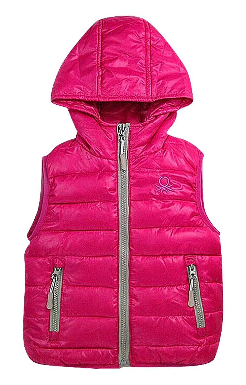 hot Sweety Kids 1 Color Contrast Piping Zipped Quilted Cotton Filled Hooded Vest save more