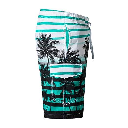 OLUOLIN Mens Hawaiian Summer Swim Trunks Quick Dry Holiday Party Beach Board Shorts