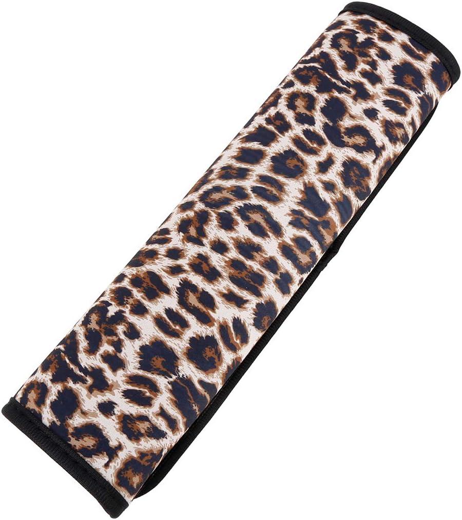 X AUTOHAUX Pure Leopard Pattern Neoprene Washable Non-Slip Elastic Seat Belt Covers Shoulder Strap Pads Soft Comfort Seatbelt Pad Universal Fit for Car Auto