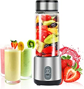 Personal Smoothie Blender, Portable USB Rechargeable Blender, 450ml Small Blender Juicer Mixer Cup, Multifunctional Mini Travel Blender Juicer (Shakes, Smoothies, Baby Food, Home, Travel & Gym)