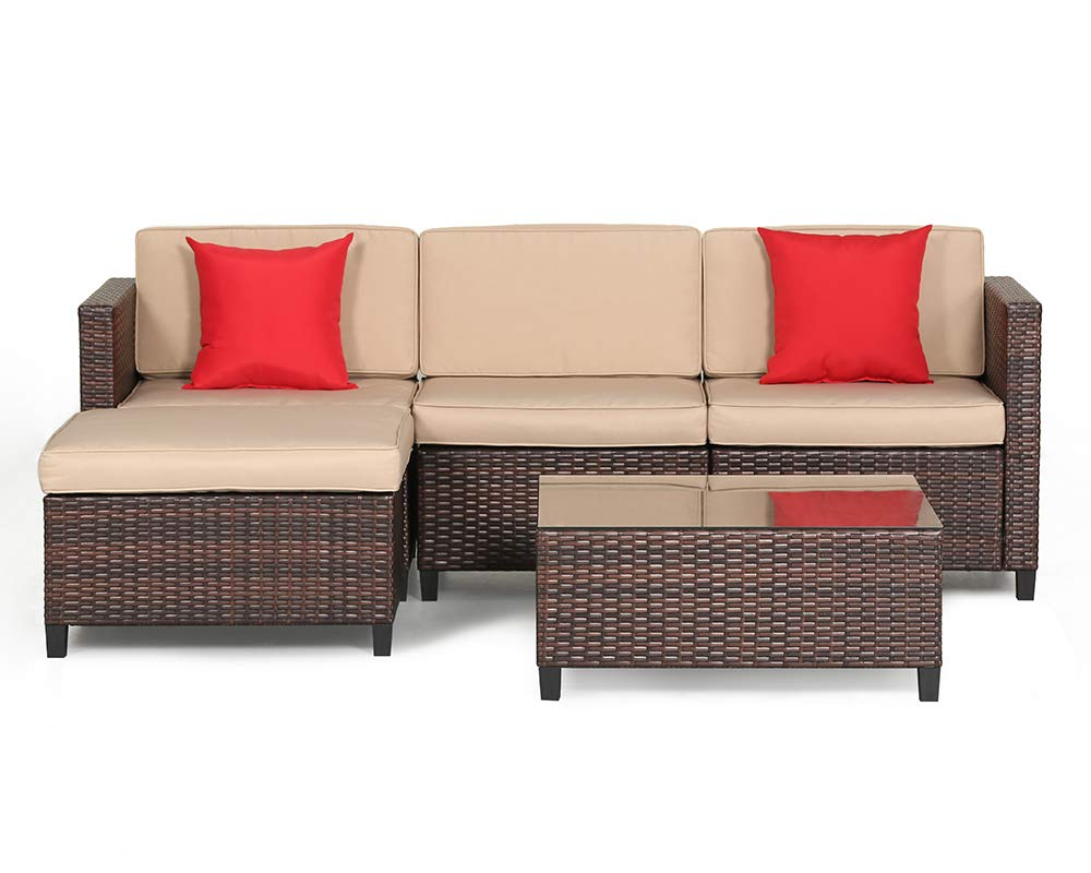 SUNCROWN Outdoor Sectional Sofa (5-Piece Set) All-Weather Brown Checkered Wicker Furniture with Brown Seat Cushions and Modern Glass Coffee Table, Patio, Backyard, Pool - COMFORTABLE SOFA SET - This contemporary outdoor sectional sofa comes with enough room to seat 4-6 friends comfortably with a table to hold food and drinks. All cushion covers contain a zipper and are washable. BEAUTIFUL WICKER STYLE - Crafted with high-quality resin wicker, this outdoor sofa furniture adds handsome décor to your patio, deck, backyard porch, or even pool. ELEGANT GLASS TABLETOP - The checkered wicker sectional set also features a gorgeous tempered glass coffee table that perfectly highlights your patio or poolside decor. - patio-furniture, patio, conversation-sets - 61u0KM7t0ML -