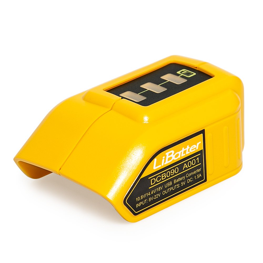 LiBatter 2 USB Ports for Dewalt DCB090 USB Power Source Compatible Adapter with 14.4V and 20V Lithium Batteries (Adapter)