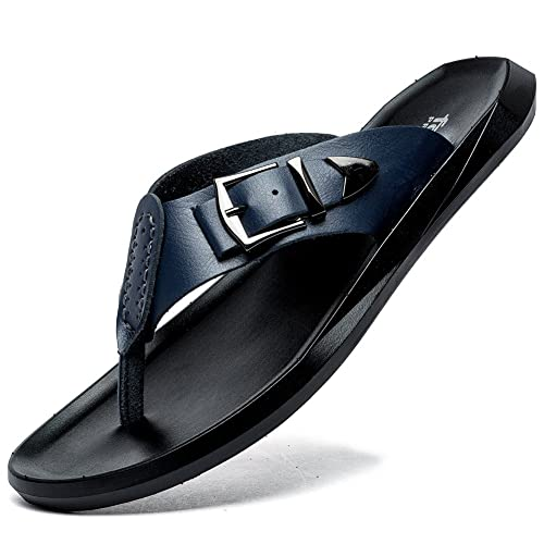 d69d3e5ff7555 SONLLEIVOO Summer Flip Flops for Men Soft Thong Slippers Leather Indoor  Outdoor Beach Sandals Casual Shoes