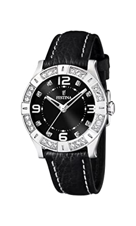 Festina Womens Fashion F16537/2 Black Leather Quartz Watch with Black Dial