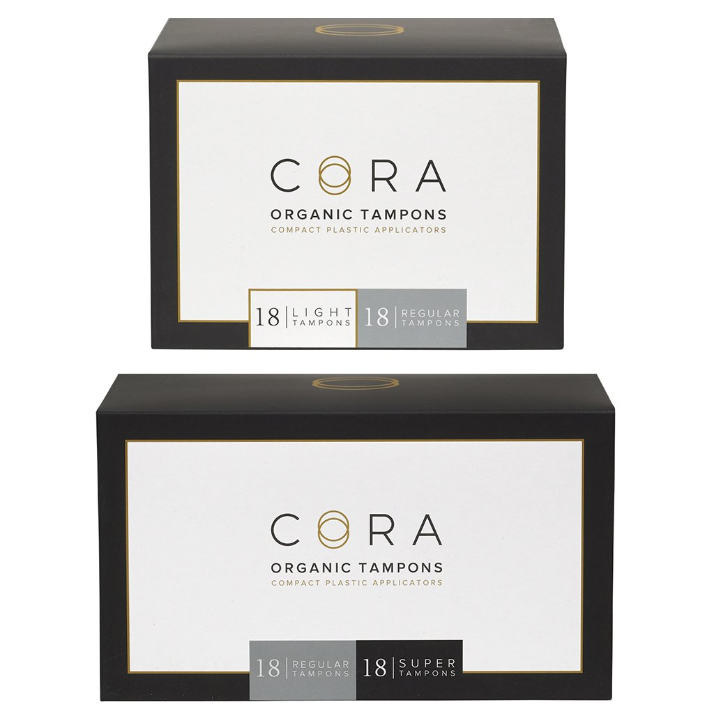 Cora Variety Pack - Light/Regular/Super - Organic Cotton Tampons w/Applicator (72 Count; 18 Light, 36 Regular, 18 Super)