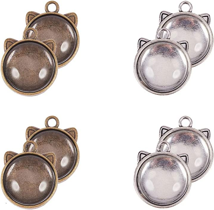 PH PandaHall 40pcs Tibetan Alloy Round Cat Ear Pendant Trays Blank Bezel with 40pcs Clear Glass Cabochon Dome Tiles for Cameo Photo Necklace Jewelry Making, Trays: 17mm