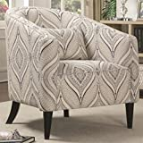 Coaster 902405-CO Claxton Collection 31.5″ Accent Chair with Toss Pillow All-Foam Seating Espresso Tapered Legs and Linen Blend Upholstery, In Oatmeal