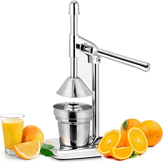 Manual Orange Juicer Stainless Steel Chrome Citrus Hand Press Fresh Fruit Squeezer Pro Extractor