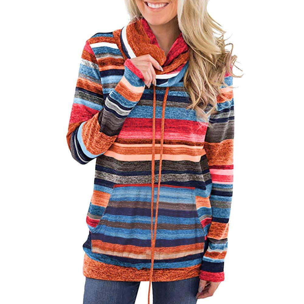 Linkay Pullover Hoodie Women Ladies Autumn WinterCowl Neck Striped Long Sleeve Pocket Drawstring Outerwear Jacket Coat Tops Fashion 2018
