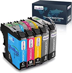 OfficeWorld Compatible Ink Cartridges Replacement for Brother LC203 203XL LC203XL Ink, Work with Brother MFC-J480DW, MFC-J460DW, MFC-J880DW, MFC-J680DW, MFC-J4420DW, MFC-J4620DW Printer