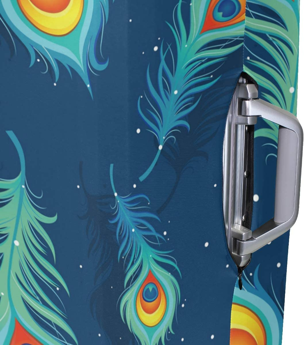 Travel Luggage Cover Navy Background Peacock Feather Pattern Suitcase Protector