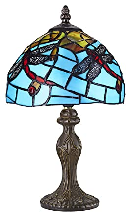 af2b6cd48234 Image Unavailable. Image not available for. Colour  Hand Crafted Blue Stained  Glass Dragonfly Tiffany Lamp ...
