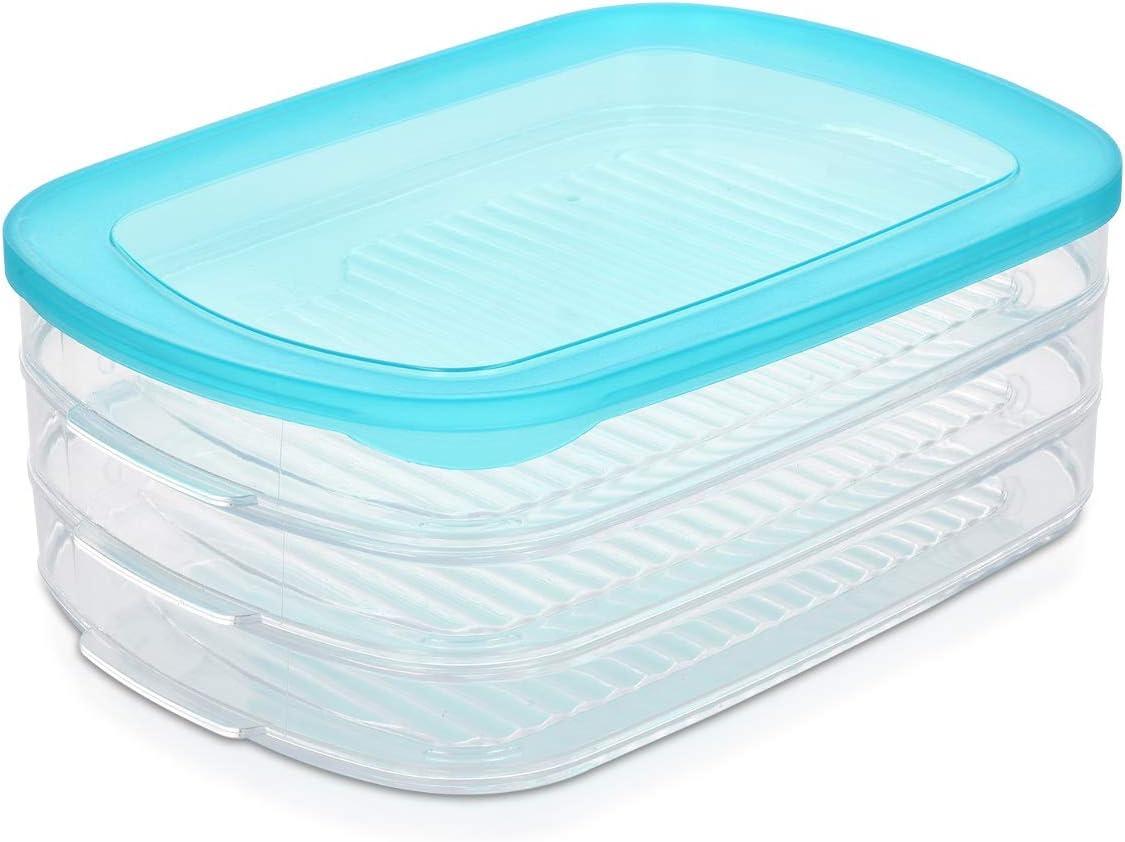 Navaris Set de 3 fiambreras para Alimentos - Recipientes para quesos y Embutidos - Contenedores apilables con Tapa para fiambre sin BPA
