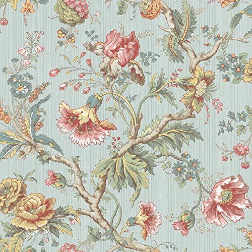 (Classical Jacobean Wallpaper in Blue BM60402 from Wallquest)