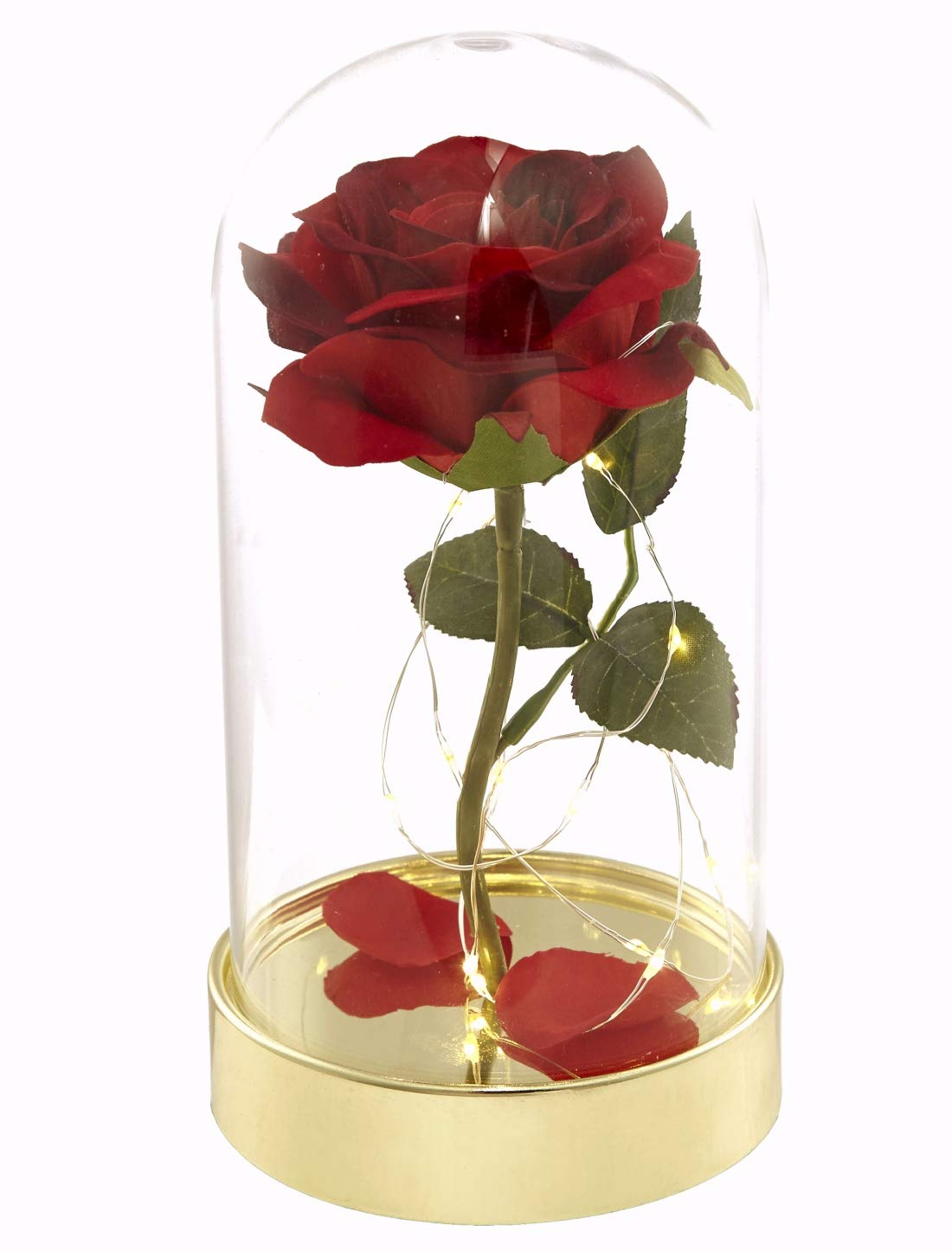 Homeseasons Enchanted Rose Beauty And The Beast Red Rose Pre Lit Silk Rose In Glass Dome Metal Base Silk Flower Arrangements