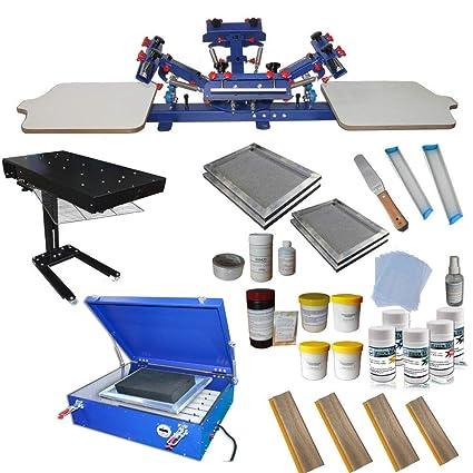 4 Color Screen Printing Kit Screen Printing Press T-Shirt Hobby Bundle DIY  with Exposure Unit