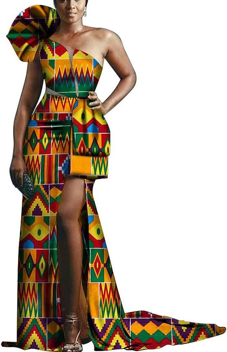 BintaRealWax Womens Elegant One Shoulder African Dress Gown Ankara Evening Dress with Slit