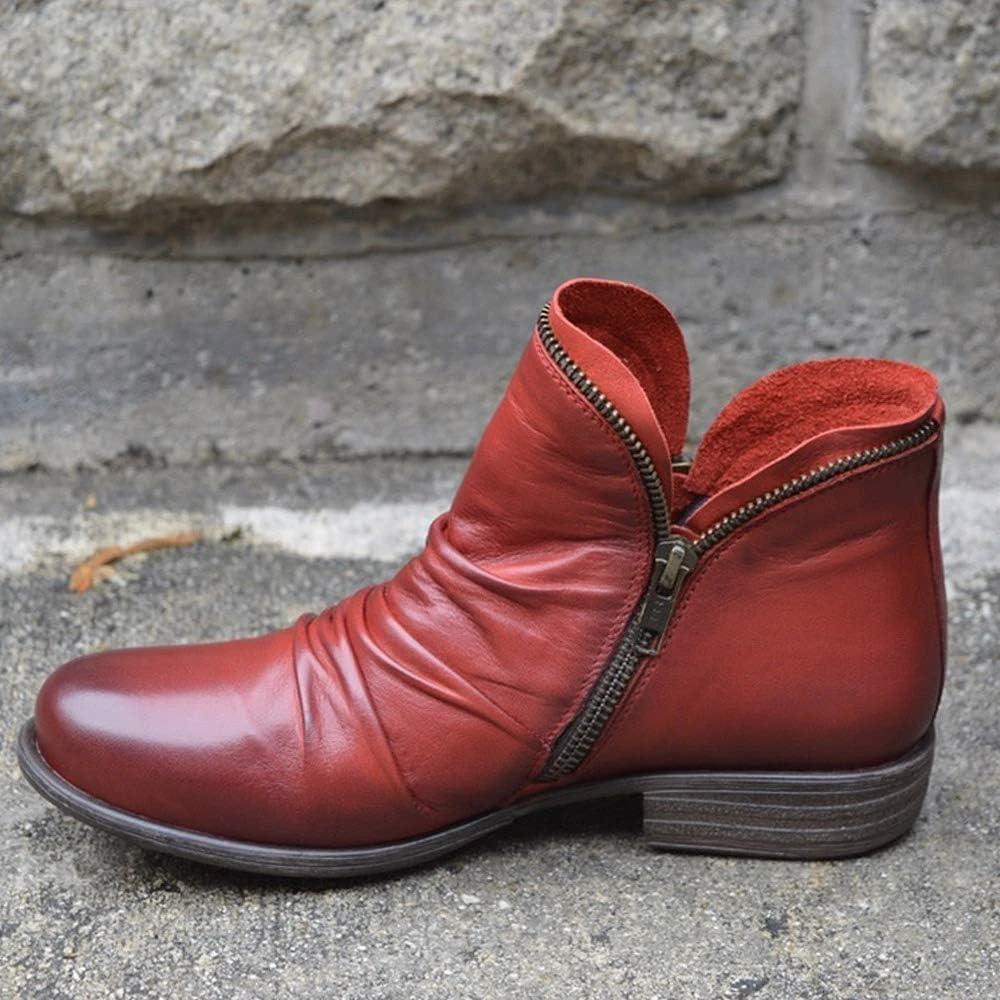 ZYLL Frauen Ankle Boots Wohnungen Side Reißverschluss-Leder-Herbst-Winter-Schnee-Aufladungen Frauen beiläufige Normallack-Außen Boots Red