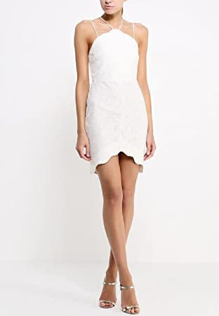 TOPSHOP Petite Scallop Lace Bodycon Dress White Cream Bridal Summer Party UK 14