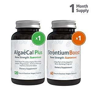 AlgaeCal Bone Builder Pack – Plant-Based Calcium Supplement with Magnesium, Boron, Vitamin K2 + D3 | Includes Natural Strontium Citrate | Clinically Proven to Increase Bone Density (1 Month Supply)
