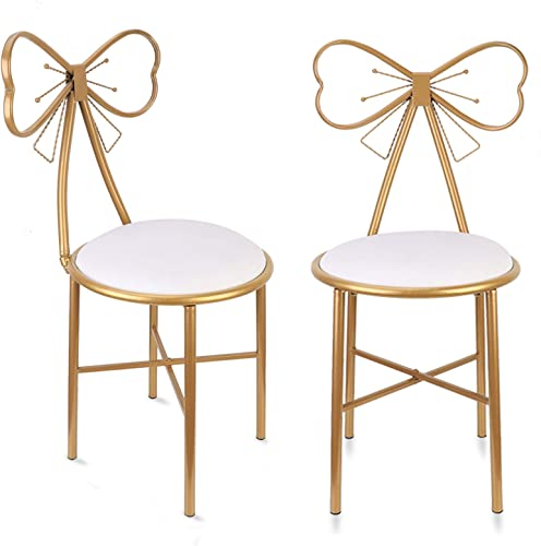 Pack of 2 Leather Makeup Stool Butterfly Soft Velvet Makeup Vanity Chair