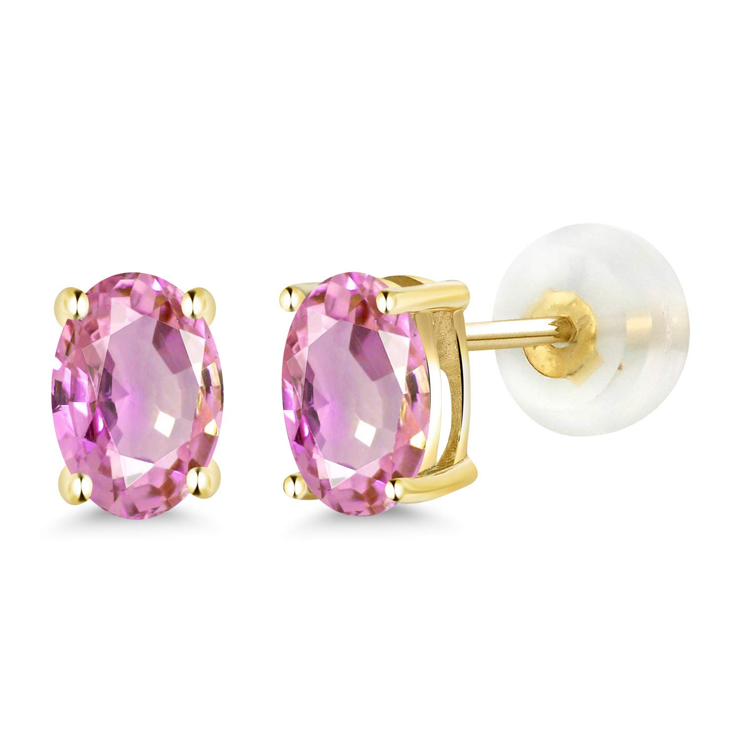 Gem Stone King 1.10 Ct Oval 6x4mm Pink Sapphire 14K Yellow Gold Stud Earrings