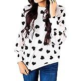 Valphsio Womens Long Sleeve Heart Prints Blouse Crew Neck Valentines Tshirt Sweatshirt