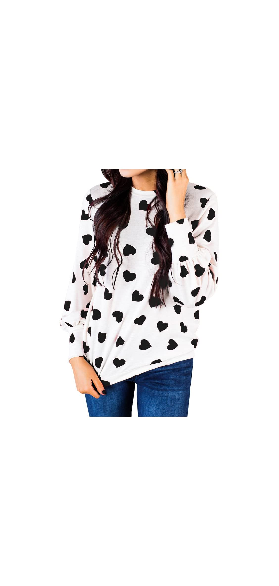 Womens Long Sleeve Heart Prints Blouse Crew Neck Tshirt