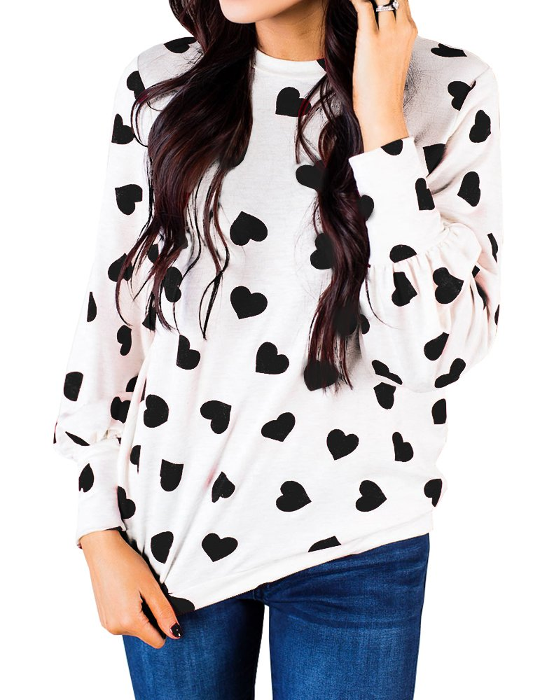 Ermonn Women Tops Heart Pattern Long Sleeve Pullover Shirt Lightweight Sweatshirt Blouse