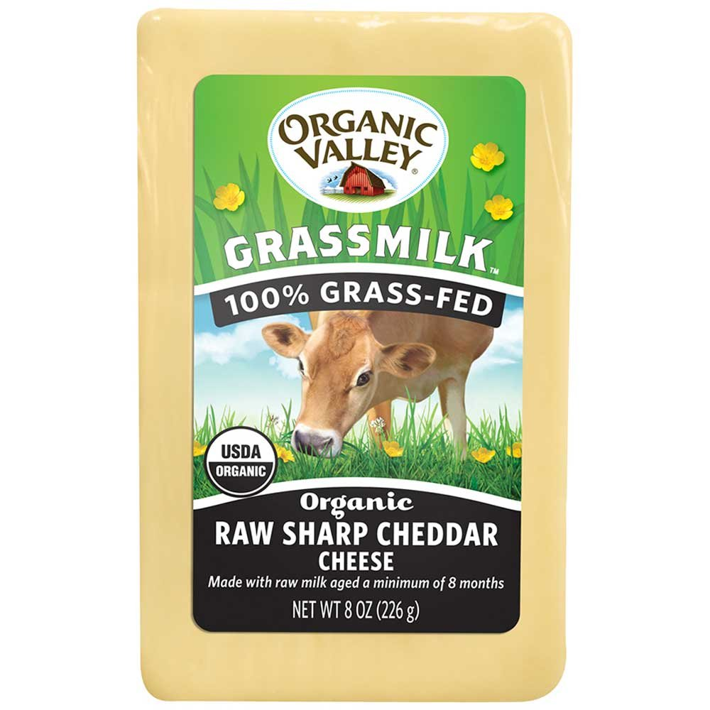 Organic Valley Raw Sharp Grass Milk Cheese, 8 Ounce (Pack of 10)