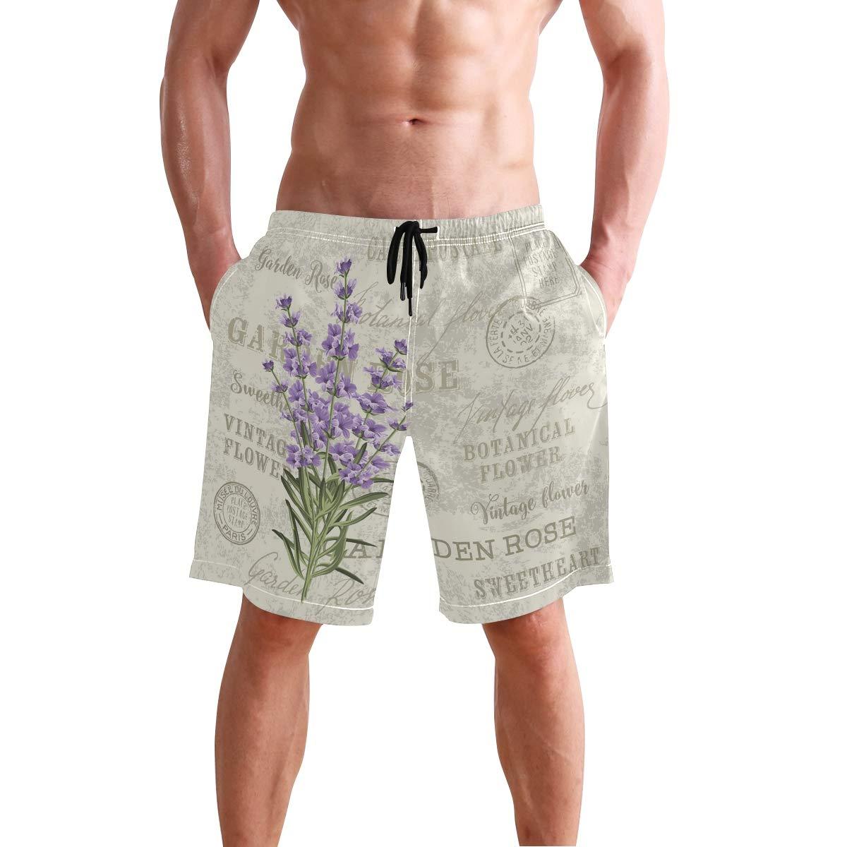 KVMV Vintage Pastel Toned Iris Blooms Flourishing Beauty Mother Earth Theme Quick Dry Beach Shorts