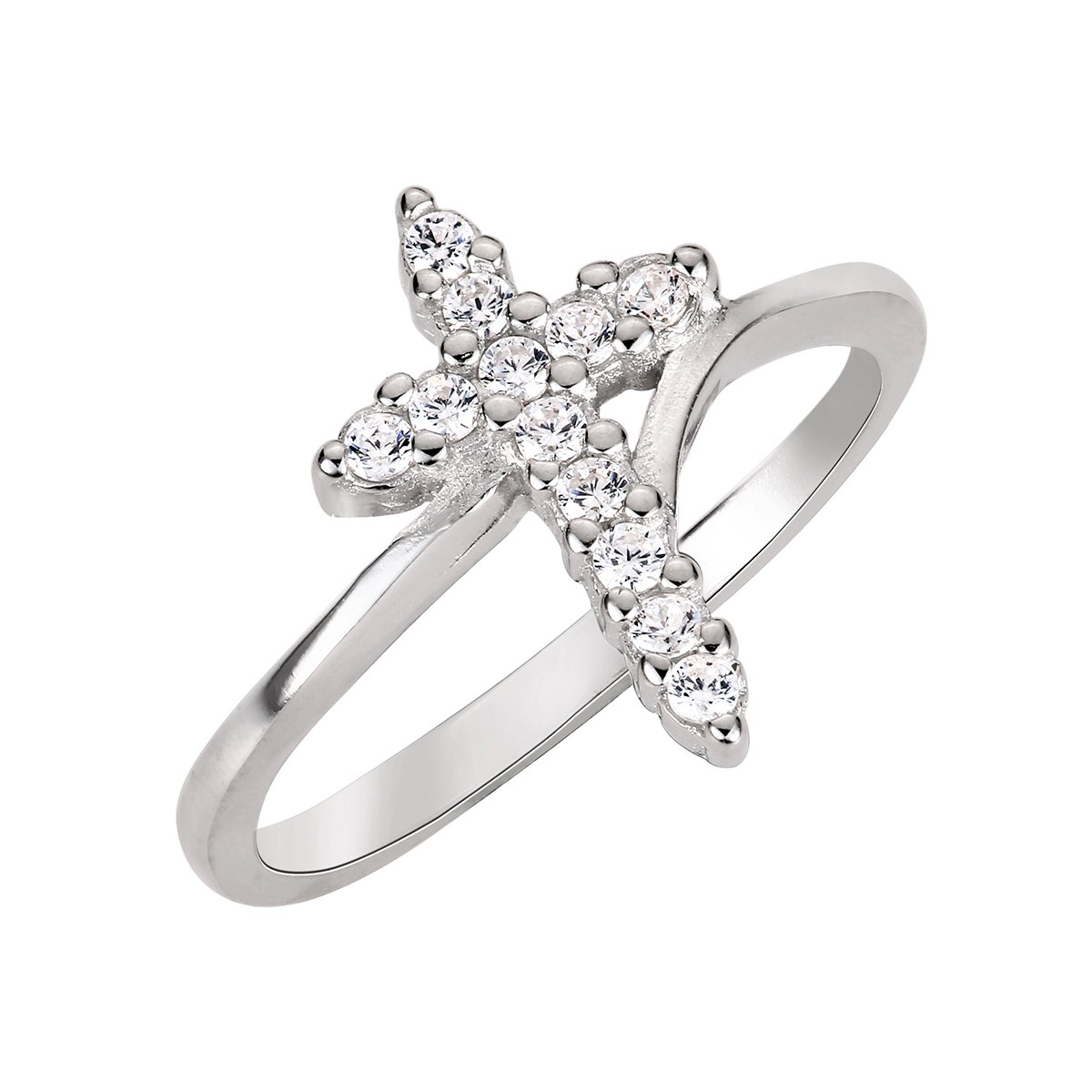 CloseoutWarehouse Cubic Zirconia Cross Ring Sterling Silver Size 11