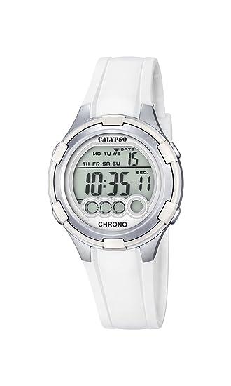 Calypso Mujer Reloj Digital con Pantalla LCD Pantalla Digital Dial y Correa de plástico Color Blanco K5692/1: Amazon.es: Relojes