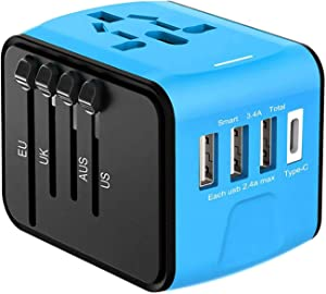 Travel Adapter, Goldsen Universal Power Adapter Type-C Wall Charger with High Speed 3 USB Charger Port Worldwide Plugs Converter AC Power Outlet Multi Travel Adapter for UK EU AU Asia Italy (Blue)
