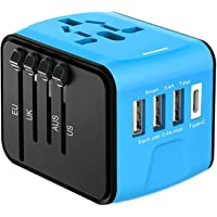 Disgian Travel Adapter, Universal International Power Adapter with 3 USB Port And Type-C International Wall Charger Worldwide AC Power Plug for Charger Phone Multi-nation Travel UK, EU, AU Over 200 Countries