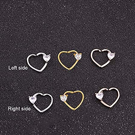 Gimax Feelgood 1PC Silver And Gold Color Copper Heart Daith Piercing Jewelry Cz Heart Hoop Helix Cartilage Earring Tragus Rook Ring Metal color: rose gold, Main Stone Color: A left side
