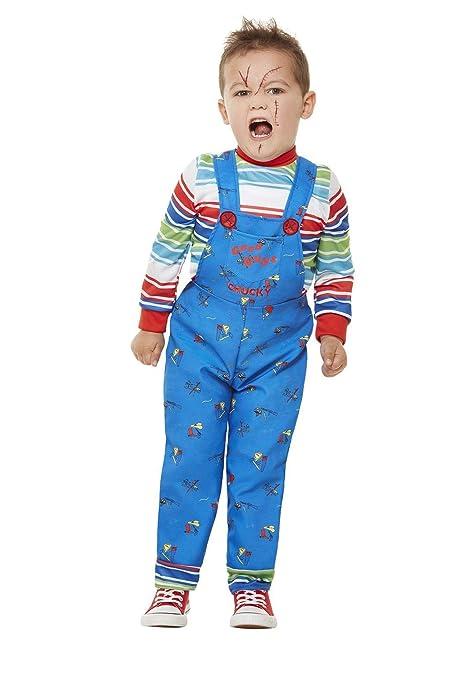 Smiffys 61027T1 - Disfraz de Chucky con licencia oficial, para niños, color azul, para niños de 1 a 2 años