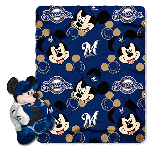Milwaukee Brewers Bedding - Officially Licensed MLB Milwaukee Brewers Pitch Crazy Co-Branded Disney's Mickey Hugger and Fleece Throw Set