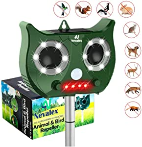 Ultrasonic Animal Repeller Solar Powered with Sound Control, Motion Sensor Flashing Lights. Scare Away Deer Cat Dog Racoon Squirrel Birds Mole Rat Vole Skunk Rabbit Coyote Repellent