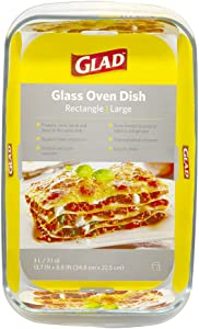 Glad Rectangular Glass Baking Dish – 3.1 Quart, Freezer-to-Oven and Dishwasher Safe, Large