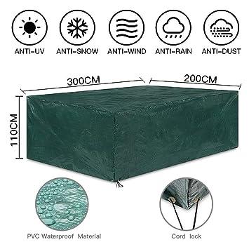 Uping Funda Protectora para Muebles de Jardín | Cubierta Protectora Exterior Impermeable | Rectangular 300 * 200 * 110CM
