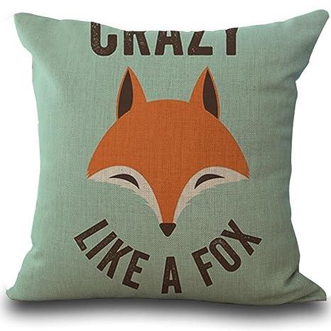 VJGOAL Moda Fox impresión sofá Cama decoración del hogar Funda de Almohada Suave y cómoda combinación de Lino Cuadrado Funda de cojín 45 cm * 45 ...
