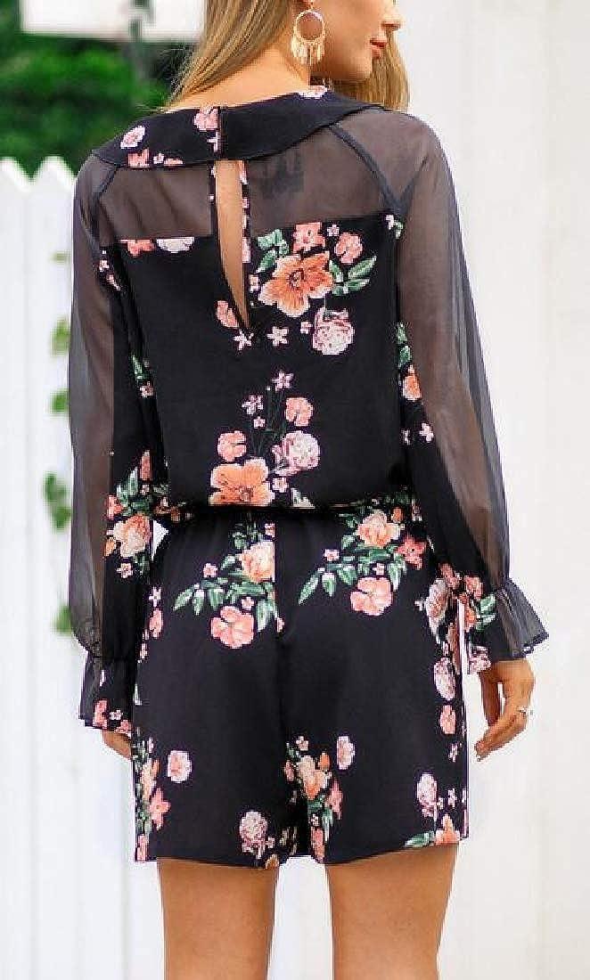 UUYUK Women Long Sleeve Loose Floral Print Chiffon Short Jumpsuit Romper