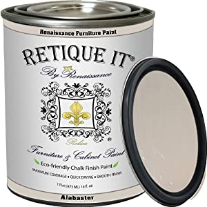 Retique It Chalk Finish Renaissance Furniture Paint, 16 oz (Pint), Gypsum 03