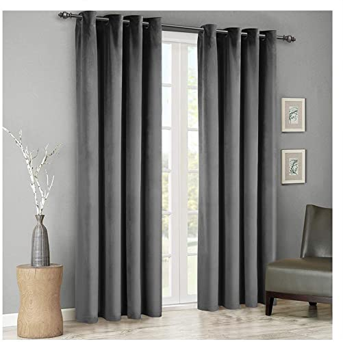 SINGINGLORY Velvet Curtains Grey 52 x 96 Inch Blackout Grommet Window Curtains 2 Panels Set - the best window curtain panel for the money