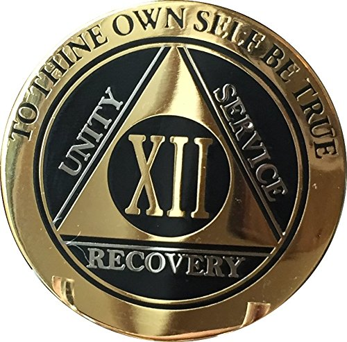 Recoverychip 12 Year AA Medallion Elegant Black Gold Silver Bi-Plated Alcoholics Anonymous Chip