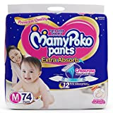 MamyPoko Pants Extra Absorb Diaper - Medium Size, Pack of 74 Diapers (M-74)
