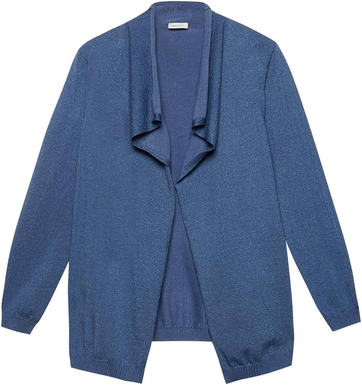 Italian Plus Size Cardigan Lurex Aperto Davanti Fiorella Rubino