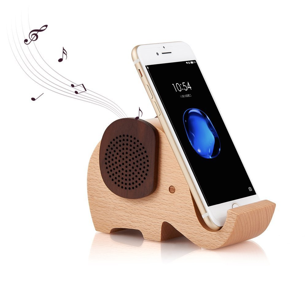 YSEECHENS Elephant Shape Multifunctional Wooden Wireless Bluetooth Speaker with Mobile Phone Stand Holder