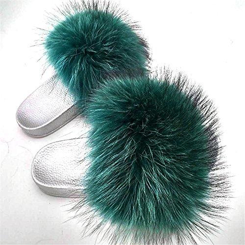 Slide Toe Silver Raccon Open Green Slippers Real Women's Fur qmfur dark EBHwxY1qx